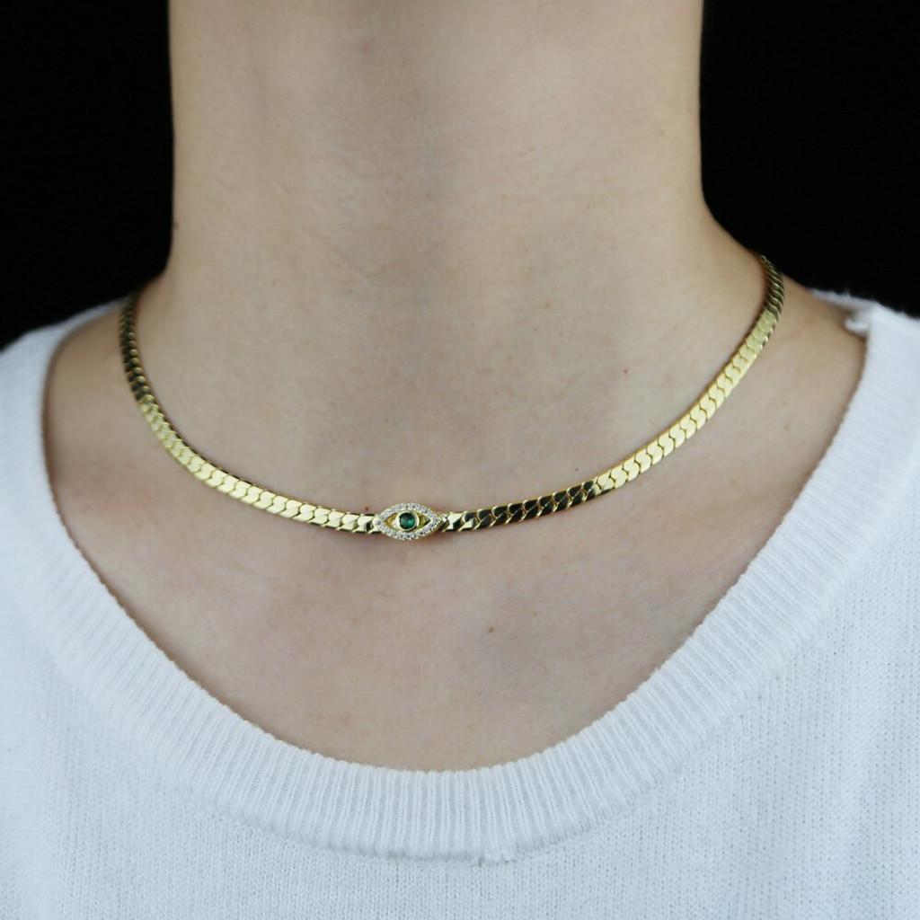 Jenny Gold Evil Eye Rhinestones Choker Necklace