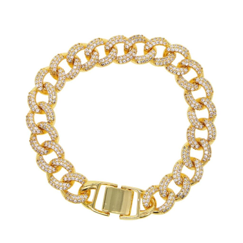 Pablo Gold Pave Cz Thick Chain Bracelet