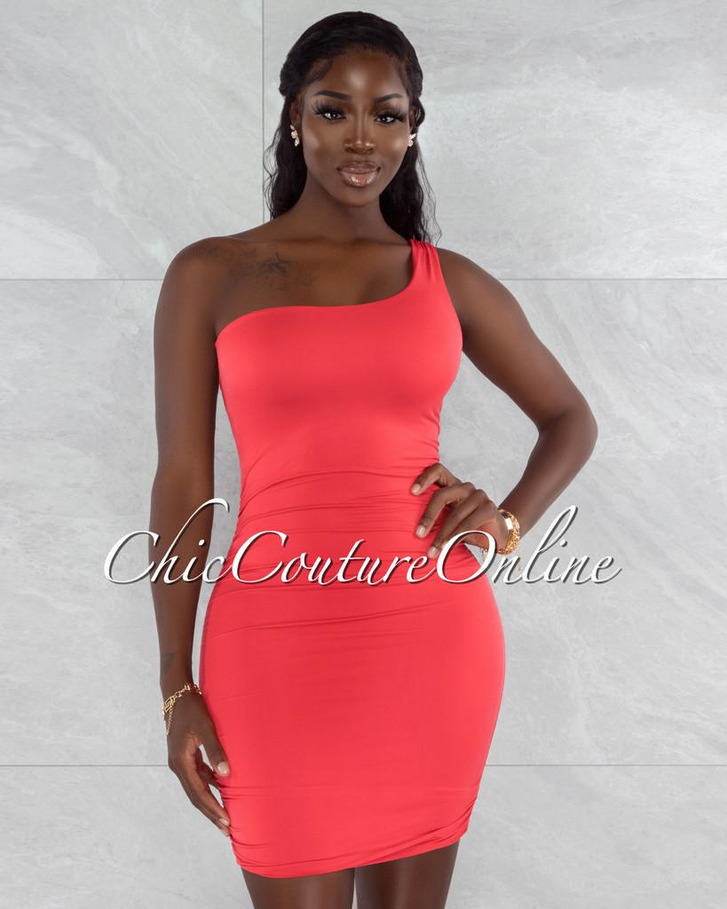 Melora Red Ruched Sides Single Shoulder Mini Dress