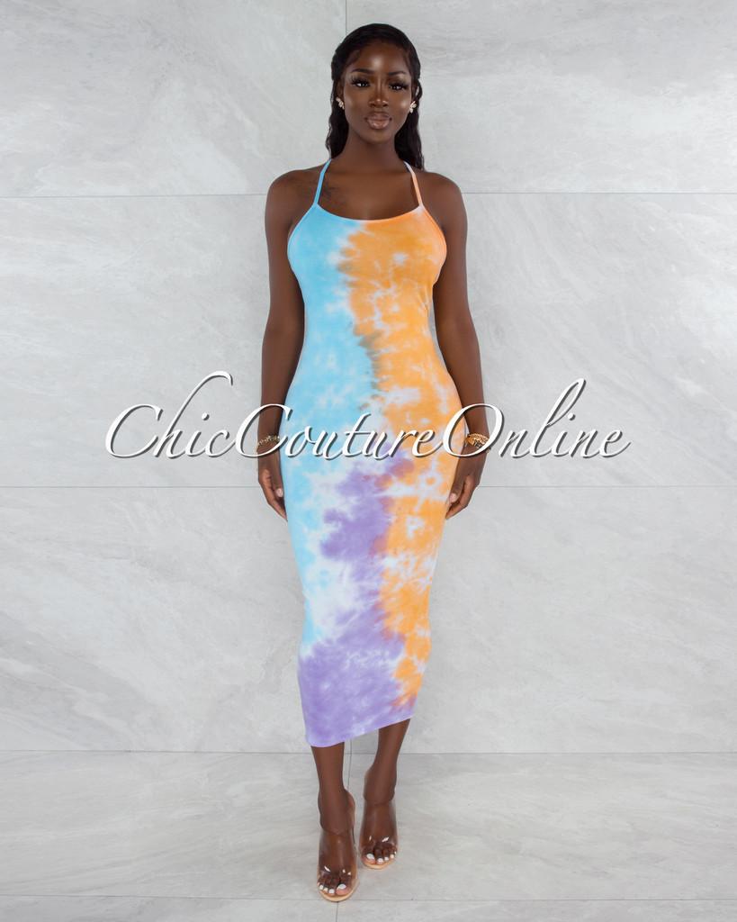 Ohio Baby Blue Orange Tie-Dye Low Back Maxi Dress