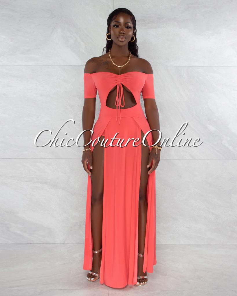 Roline Coral Ruched Neckline Double Slit Bodysuit Maxi Dress