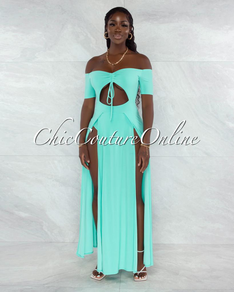 Roline Mint Ruched Neckline Double Slit Bodysuit Maxi Dress