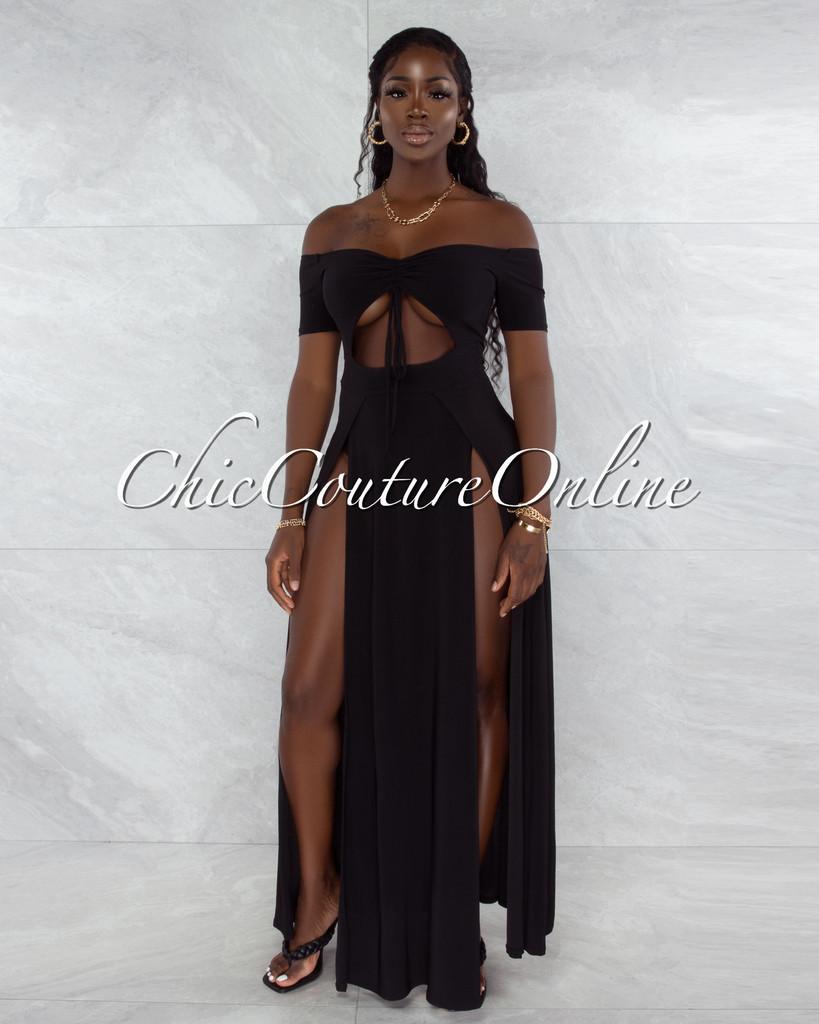 Roline Black Ruched Neckline Double Slit Bodysuit Maxi Dress