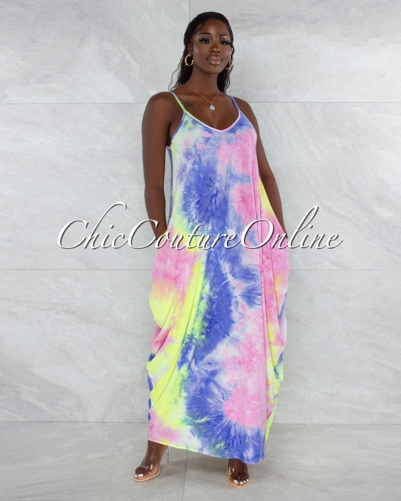 Blenda Pastel Tones Tie-Dye Print Maxi Shirt Dress