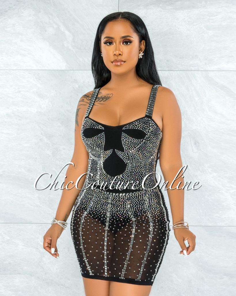 Pelicia Black Silver Rhinestones Mesh Bodysuit Dress