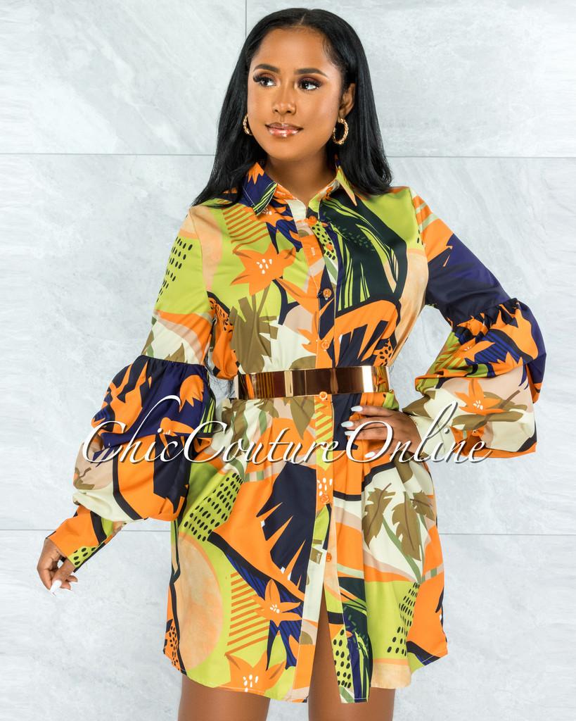 Yannis Navy Blue Orange Print Bubble Sleeves Shirt Dress