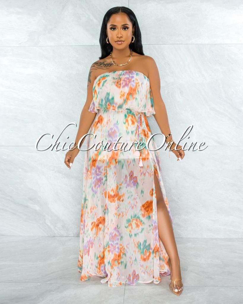 Cinco Nude Lilac Print Print Overlay Ruffle Maxi Dress
