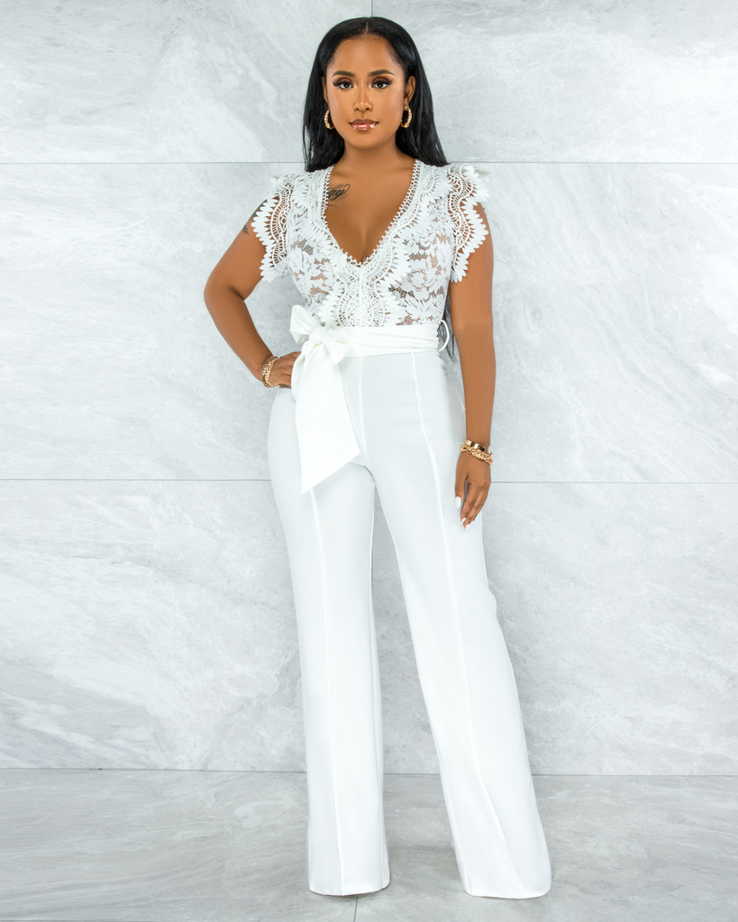Pamba Off-White Crochet Lace See-Through Top Jumpsuit