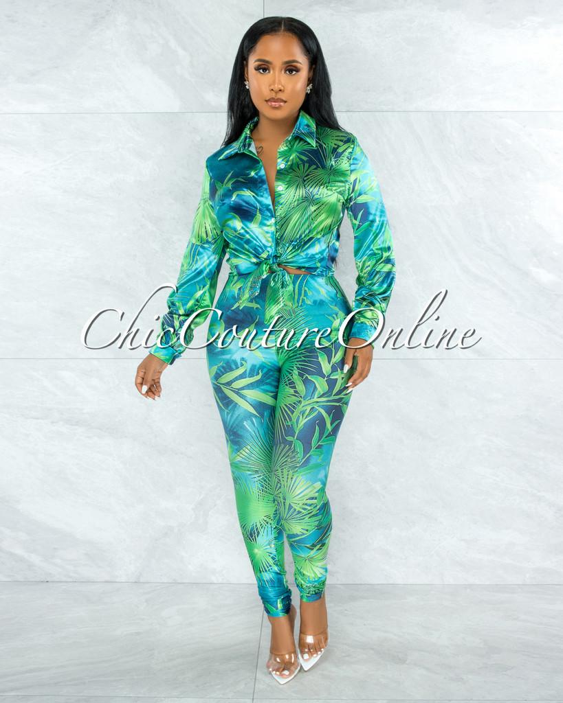 Dabney Green Palm Print Satin Shirt & Leggings Set