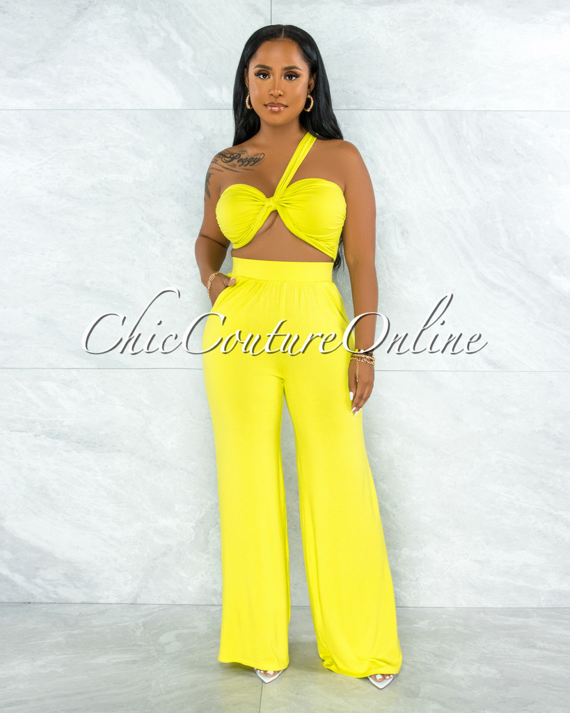 Wilford Lime Green Front Tie Top & Wide Legs Pants Set
