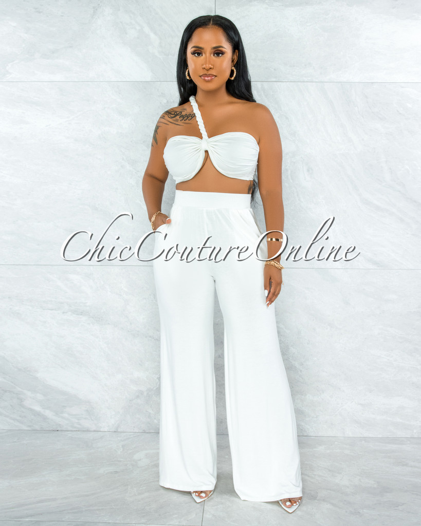 Wilford Off-White Front Tie Top & Wide Legs Pants Set