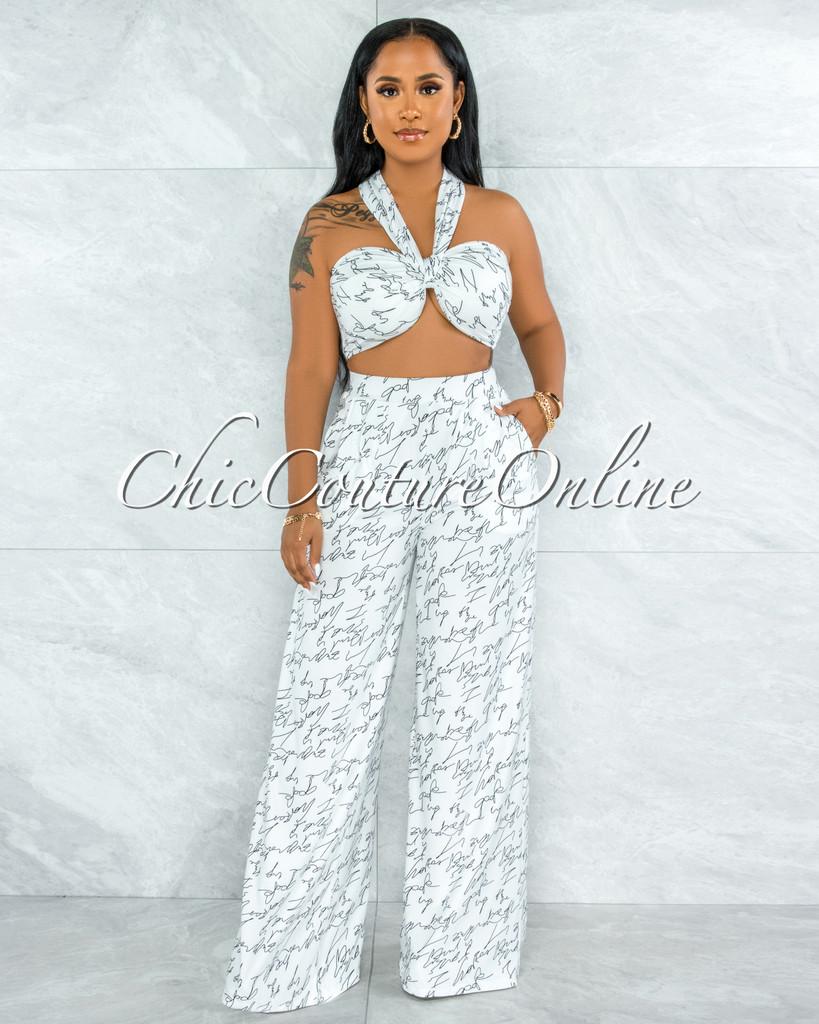 Yussell White Black Print Front Tie Top & Wide Legs Pants Set