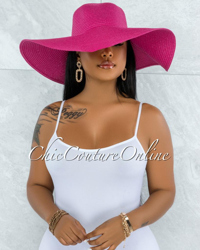 Odiva Fuchsia Oversized Brim Straw Floppy Hat