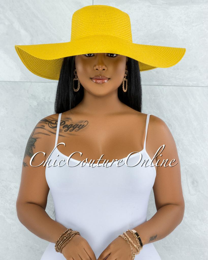 Odiva Yellow Oversized Brim Straw Floppy Hat