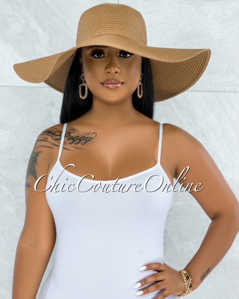 Odiva Mocha Oversized Brim Straw Floppy Hat