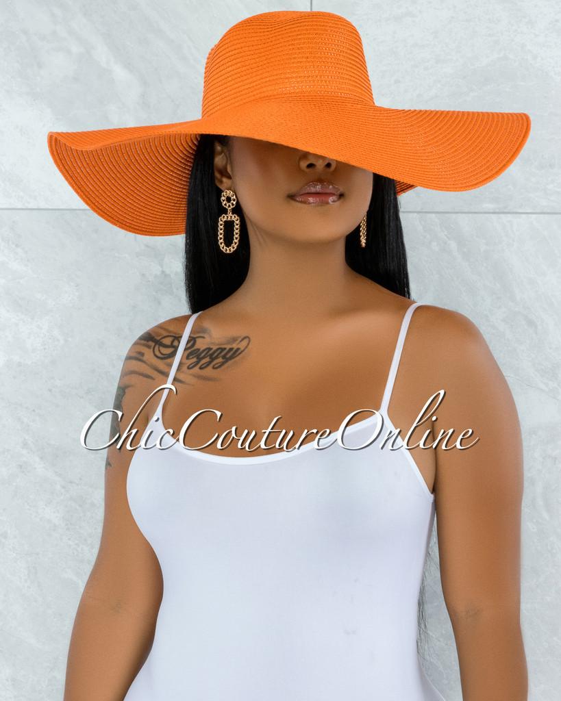 Odiva Orange Oversized Brim Straw Floppy Hat