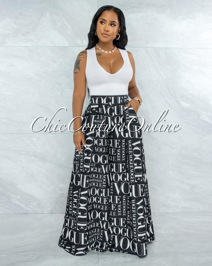 Nalia BLACK White 'VOGUE' Print Pleated Wide Pants
