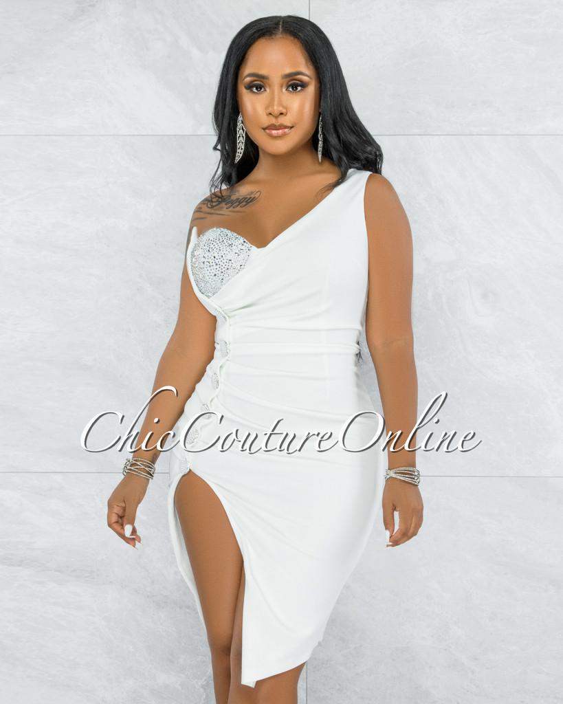 Menefer Off-White Rhinestones Under Top Illusion Midi Dress