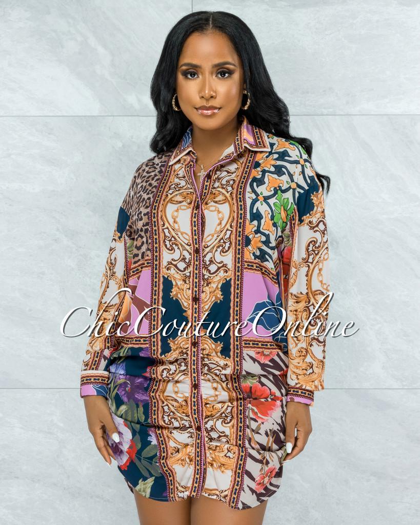 Pleun Brown Pink Multi-Color Print Buttons Drape Shirt Dress