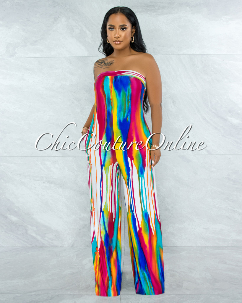 Cybele White Multi-Color Tie-Dye Strapless Jumpsuit