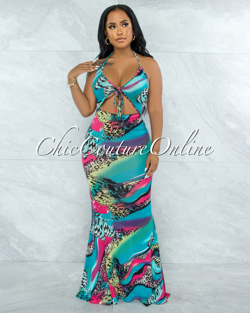 Lasha Teal Multi-Color Print Bust Cut-Out Maxi Dress