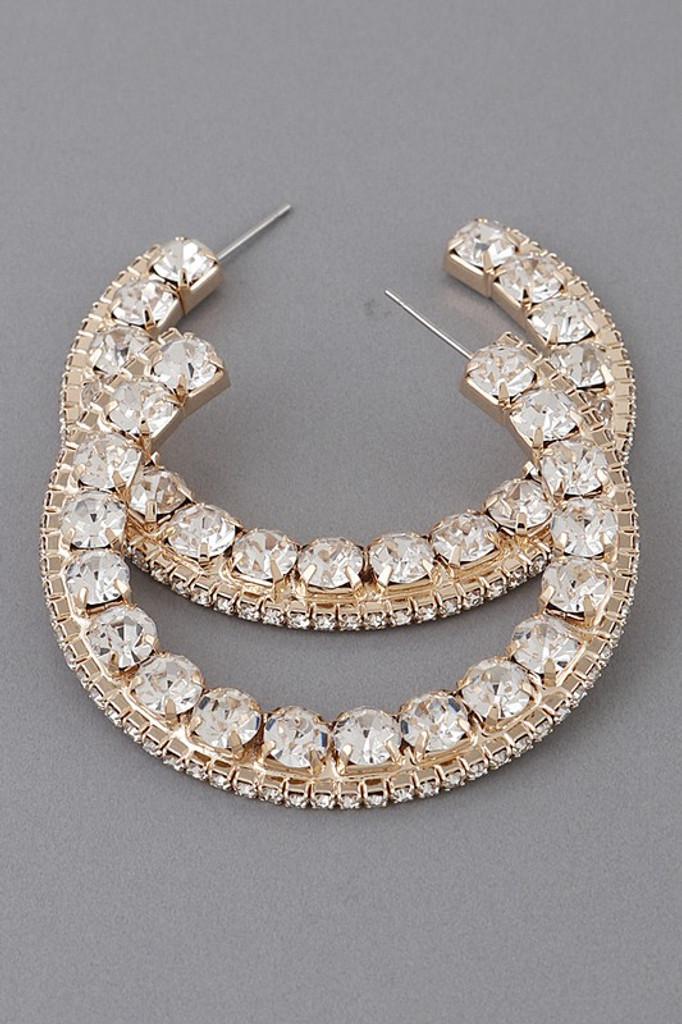Nirva Gold Jewelled Hoop Earrings