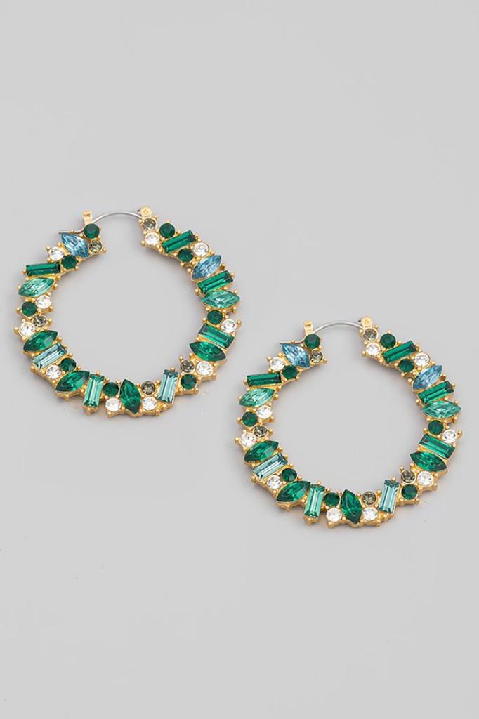 Sanika Gold Emerald Green Jeweled Hoop Earrings