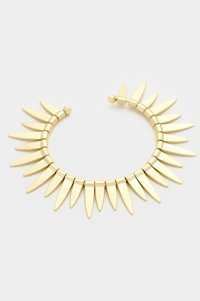 Somma Gold Flat Spike Cluster Cuff Bracelet