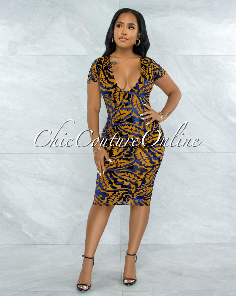 Andrew Mustard Blue Velvet Print Sheer Midi Dress
