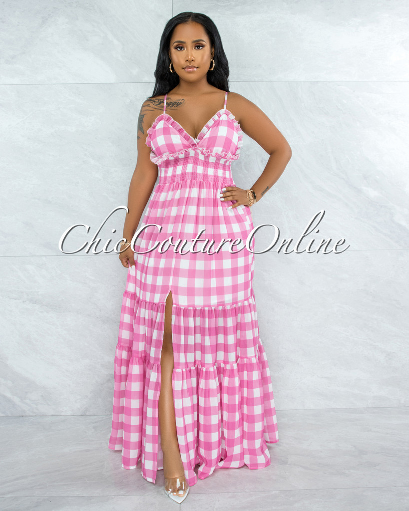Canby Pink White Gingham Print Ruffle Maxi Dress