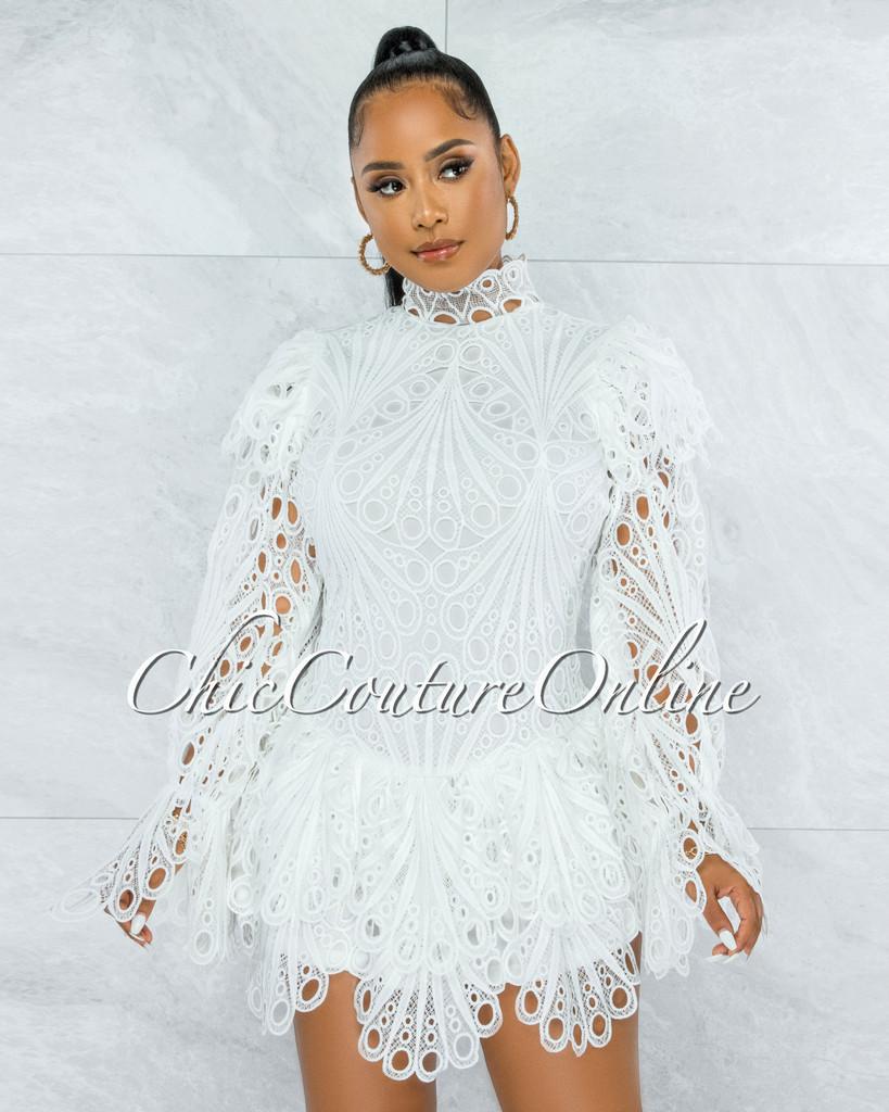 Zamora Off-White Crochet Embroidery Ruffle Skater Dress