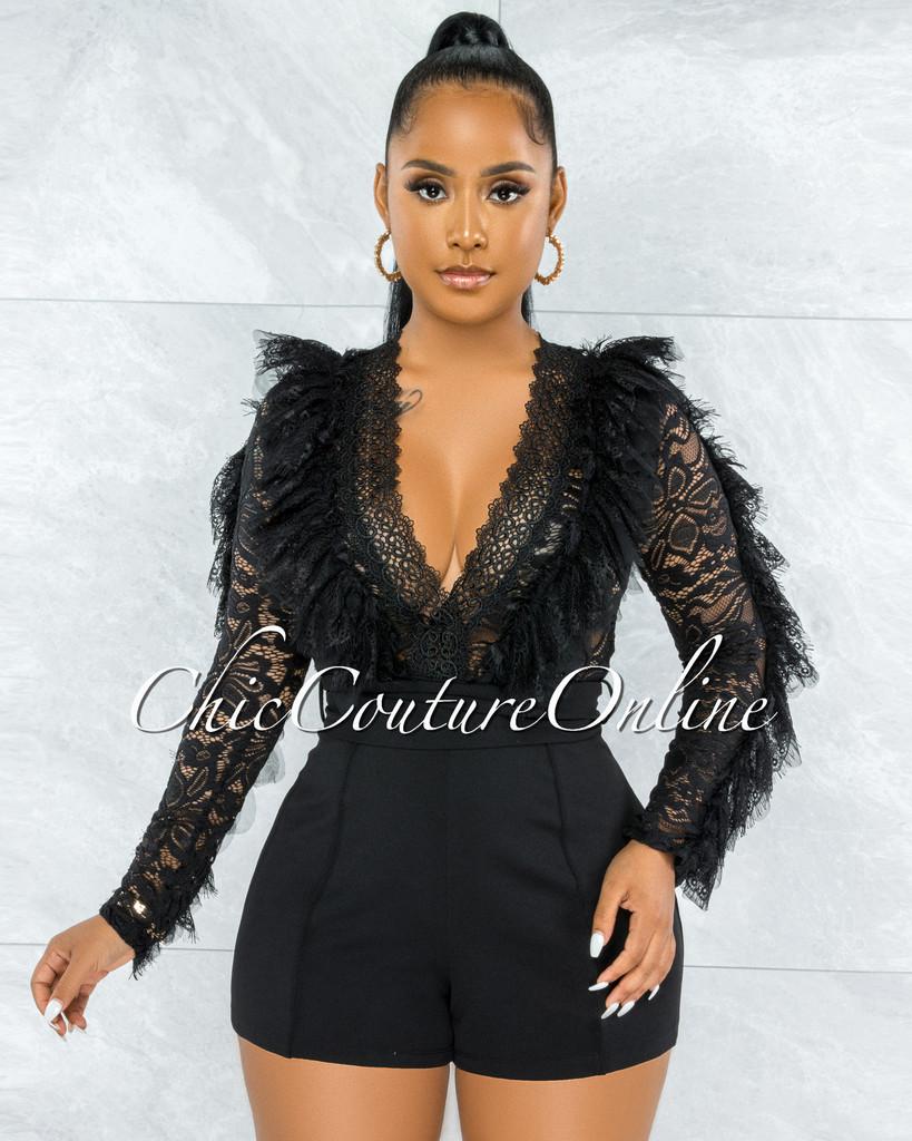 Debra Black Lace Sheer Top Ruffle Sleeves Romper