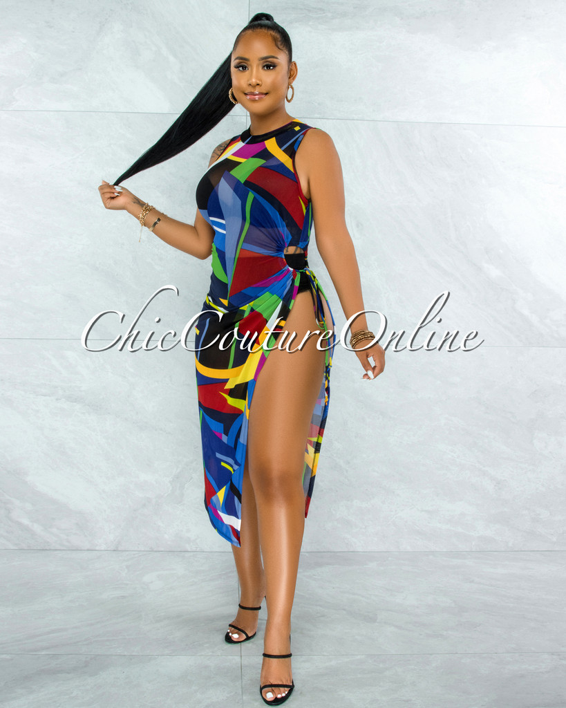Brencis Blue Multi-Color Print Side Key-Hole Tie Mesh Dress
