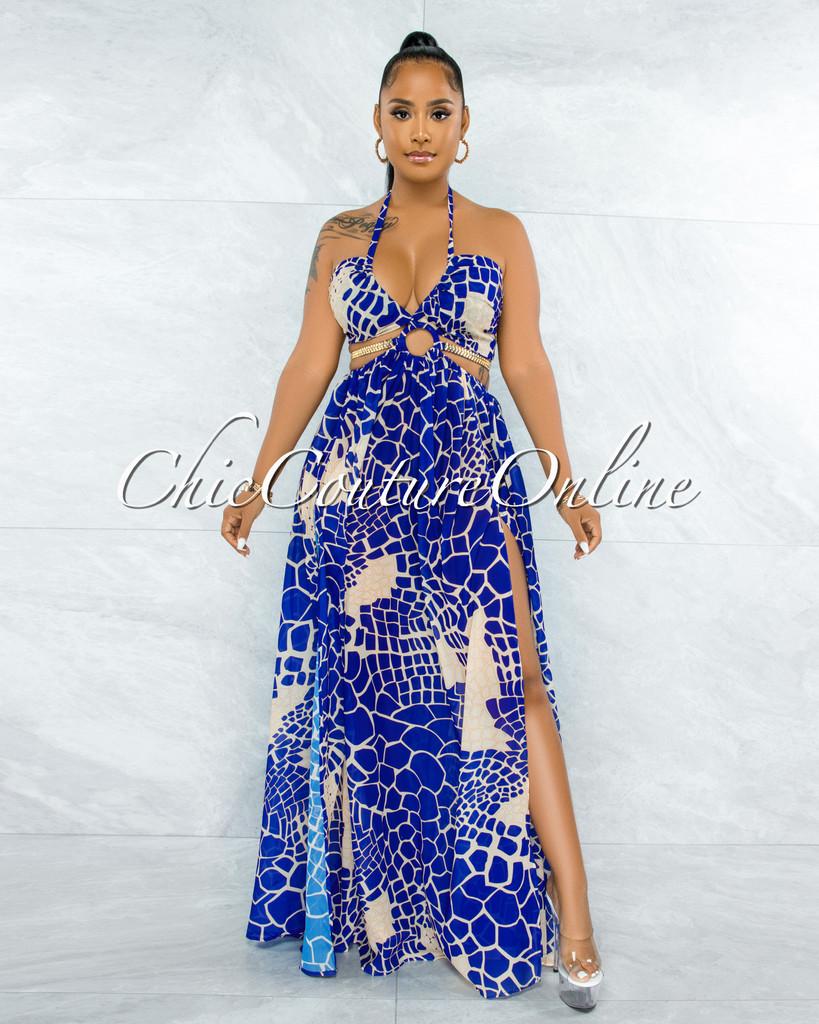 Odahna Royal Blue Print Cut-Out Sides Gold Link Dress
