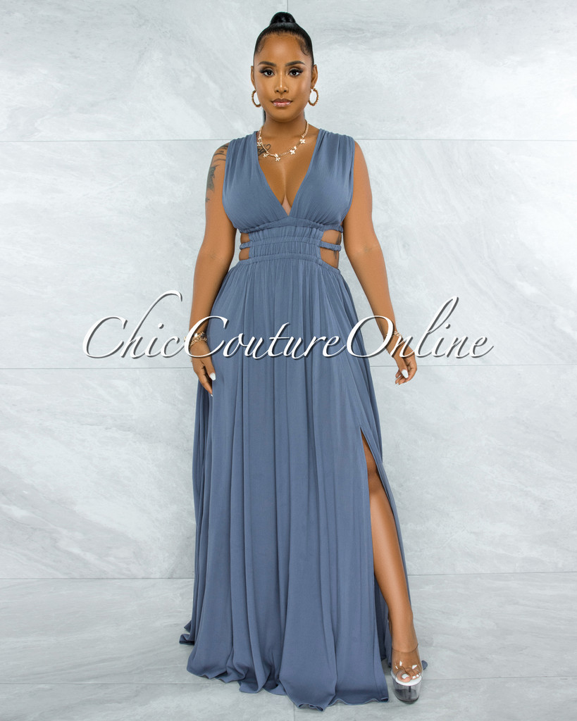 Jovana Steel Blue Cut Out Strappy Sides Maxi Dress