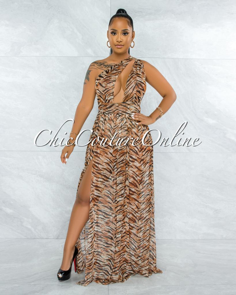 Kedma Brown Tiger Print Single Sleeve Bodysuit Sheer Dress