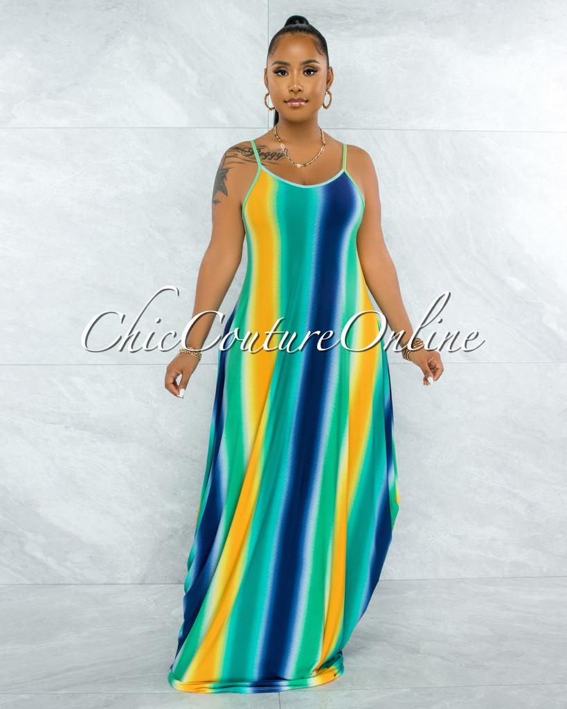 Lehava Blue Green Ombre Print Maxi Shirt Dress