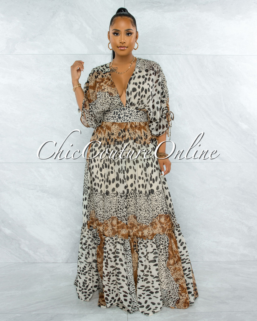 Querida Brown Leopard Print Kimono Maxi Dress