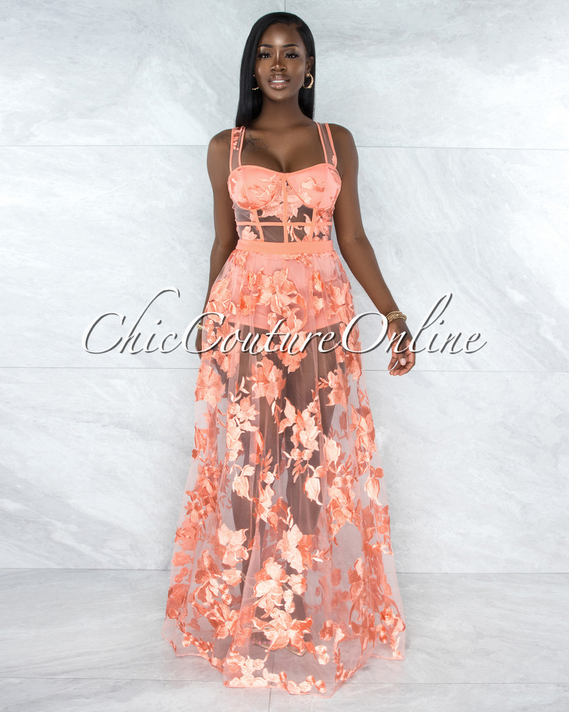 Lidonie Coral Embroidery Mesh Maxi Padded Dress