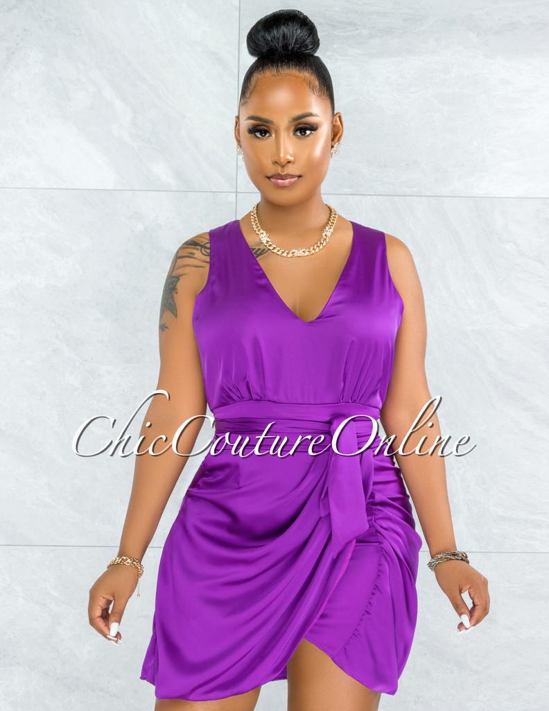 Pacifica Purple Draped Wrap Hem Mini Satin Dress