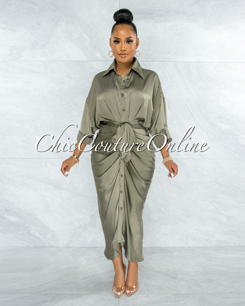 Odera Olive Draped Front Tie Shirt Maxi Satin Dress