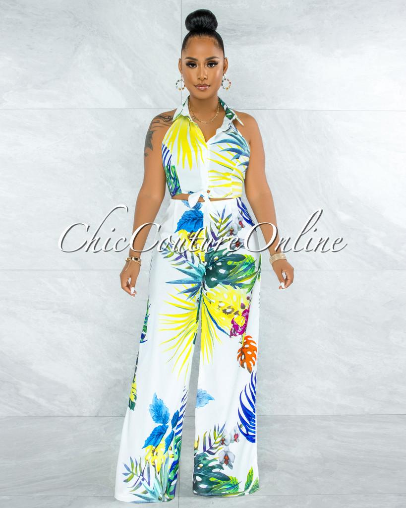 Myrina White Floral Print Halter Shirt & Wide Pants Set