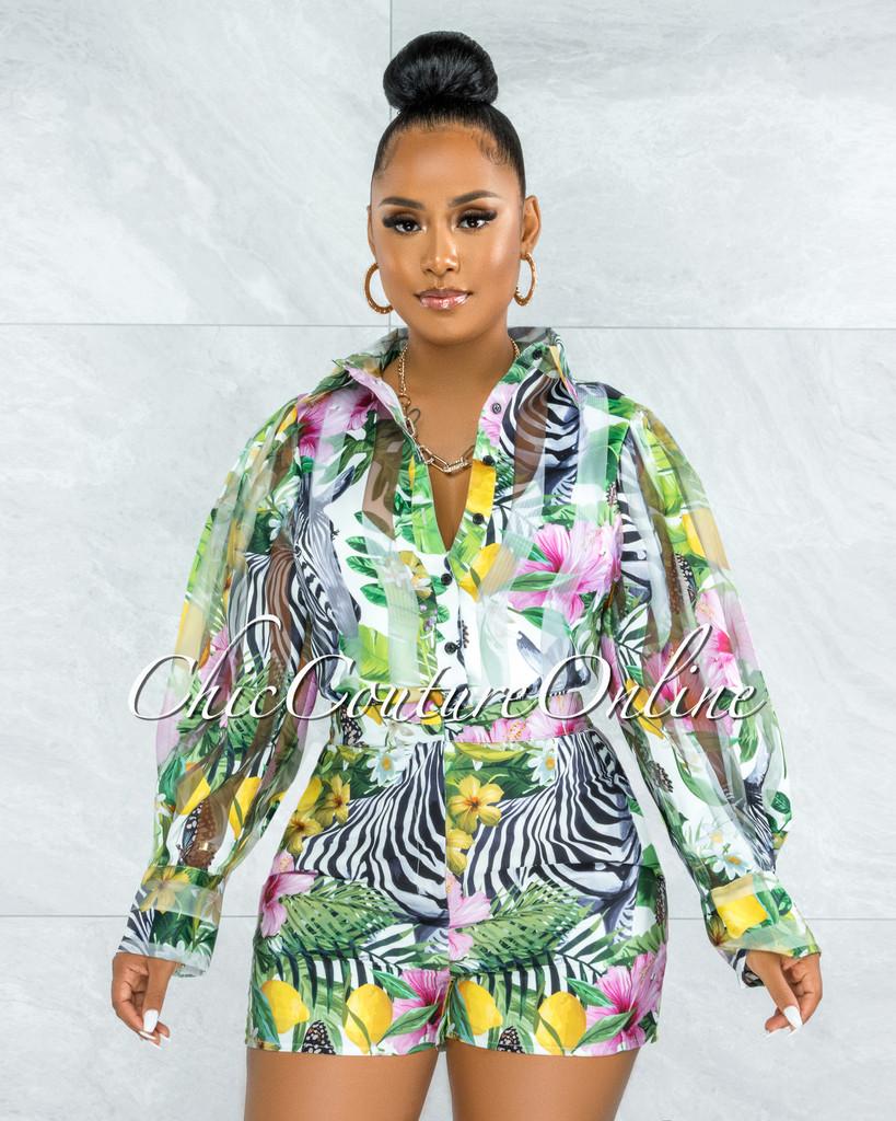 Lambert Green Multi-Color Print Sheer Blouse & Shorts Set