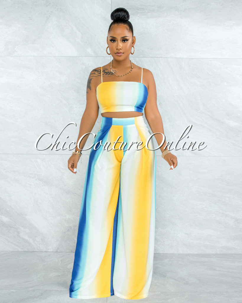 Seeley Blue Yellow Ombre Back Tie Top & Wide Pants Set