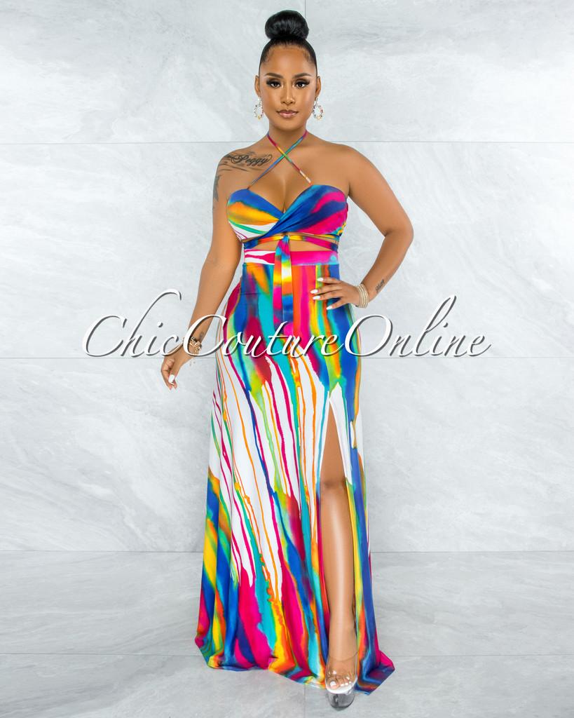 Soran White Multi-Color Print Front Tie Top & Maxi Skirt Set