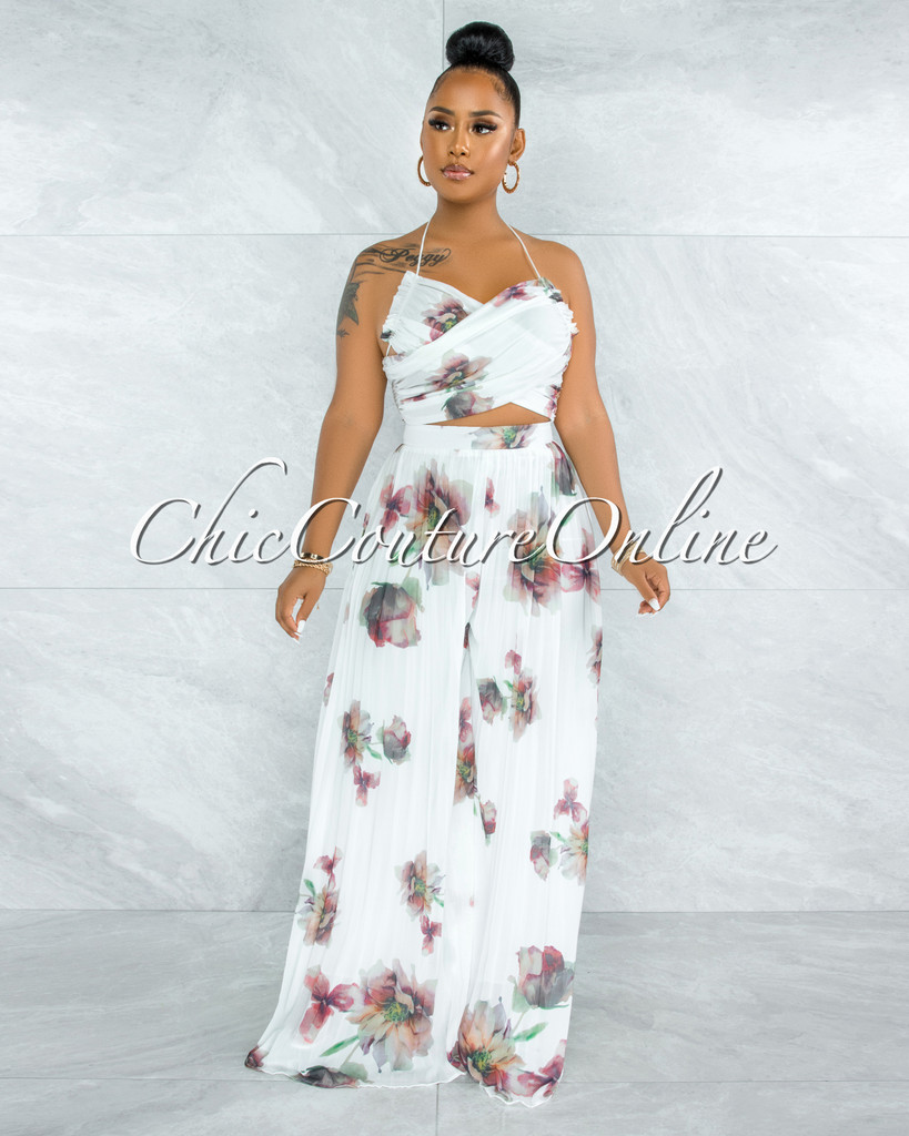 Adwin White Floral Print Crossed Top & Pleated Pants Set