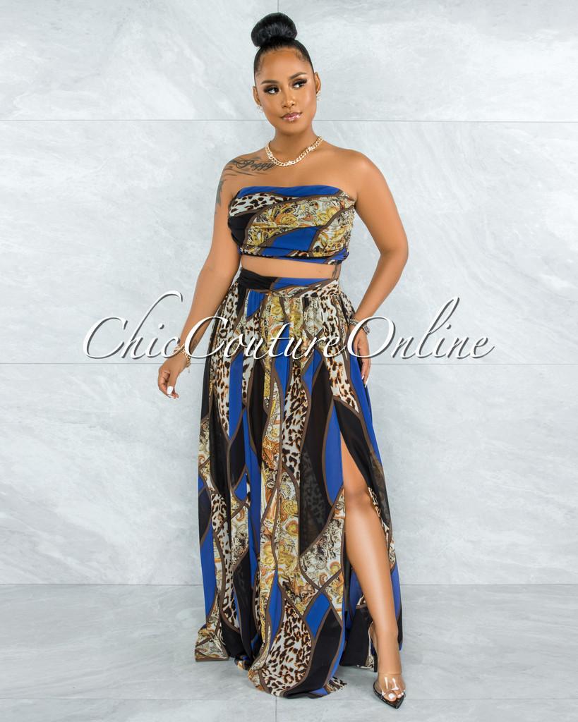 Aries Blue Black Leopard Print Crop Top & Maxi Skirt Set