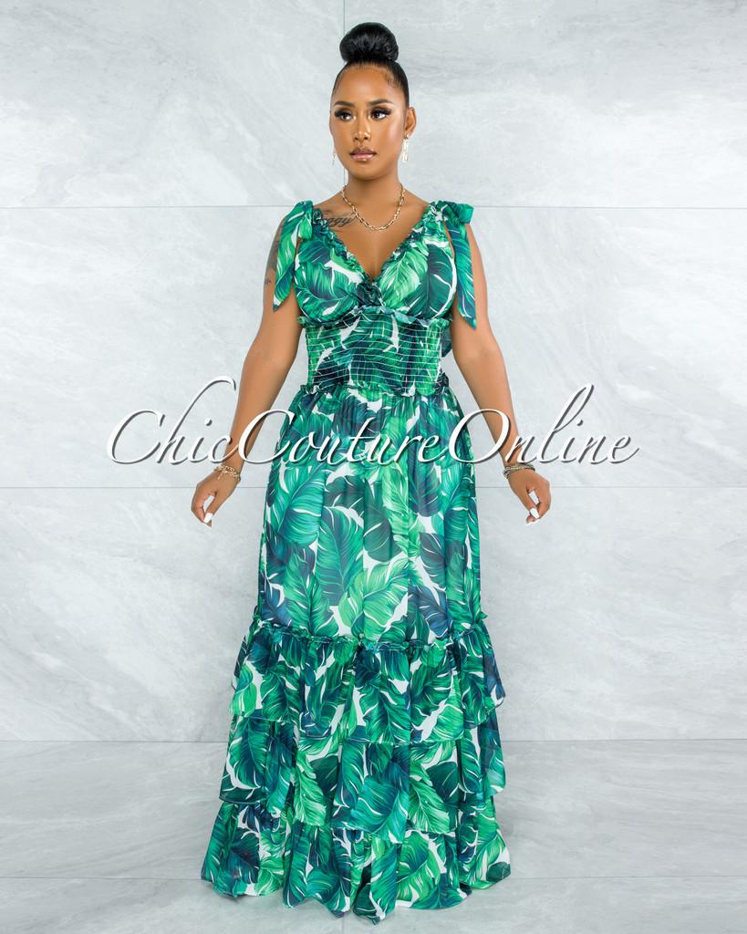Garcia Green Leaf Print Smocked Waist Ruffle Hem Maxi Dress