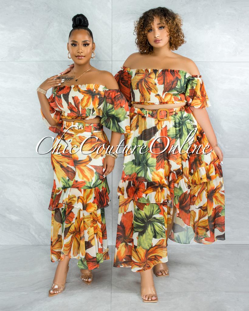 Zamella Orange Multi-Color Print Two Piece Skirt Set