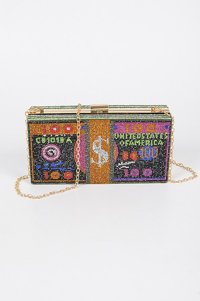 CashMoney Black Accent Rhinestones Clutch Bag